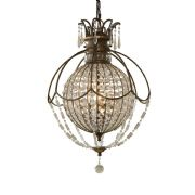 Bellini 3 Light Chandelier in a Bronze finish with Antique Quartz Crystal Decoration - FEISS FE/BELLINI3